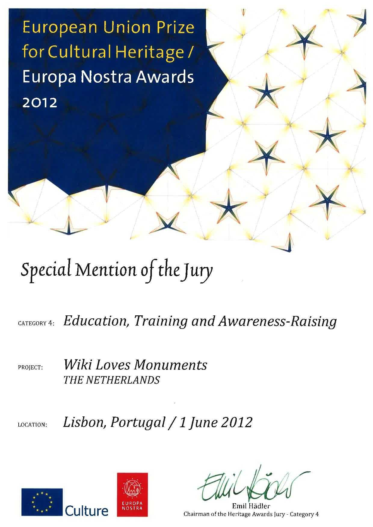 European Union Prize for Cultural Heritage – Special mention of the Jury
