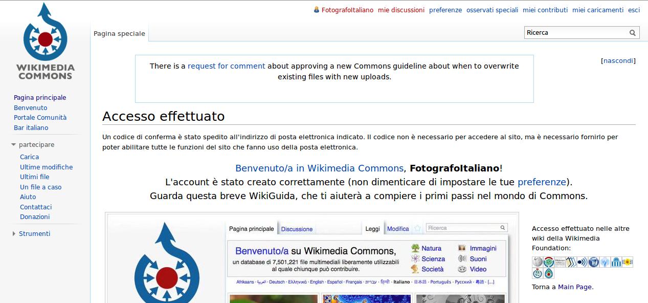 Schermata che compare alla fine del processo di registrazione di un account su Wikimedia Commons