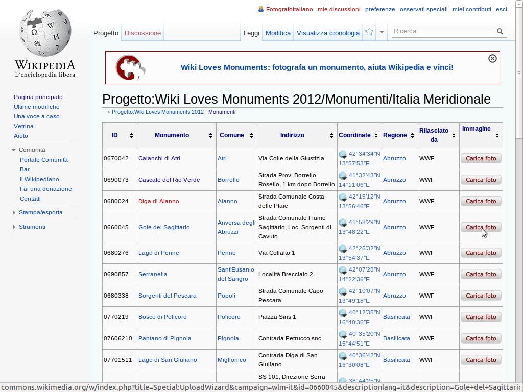 Schermata che mostra come caricare una foto per partecipare a Wiki Loves Monuments.