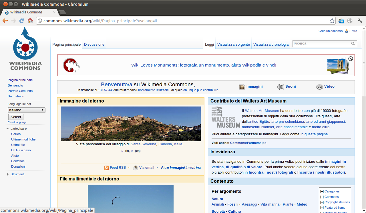 La pagina principale di Wikimedia Commons visualizzata nel browser Chromium