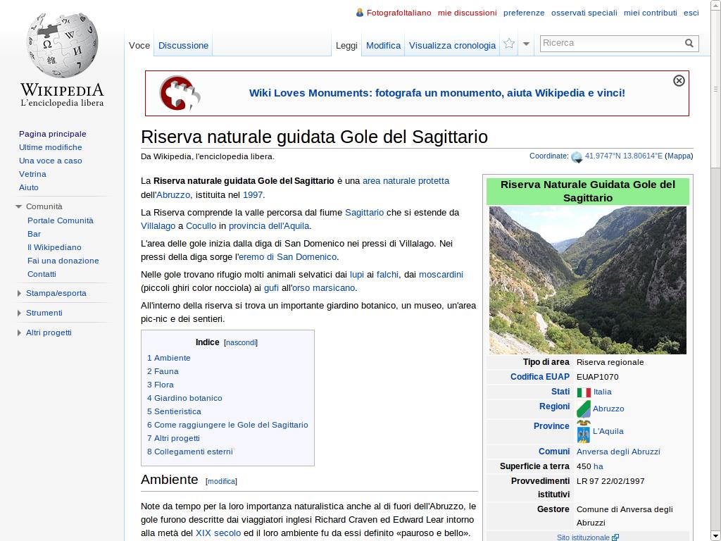 """Screenshot della voce sulle """"Gole del Sagittario"""" su Wikipedia"""