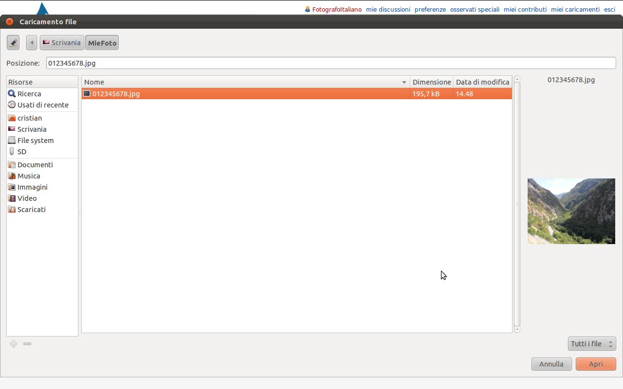 Schermata che mostra la finestra di selezione dei file.