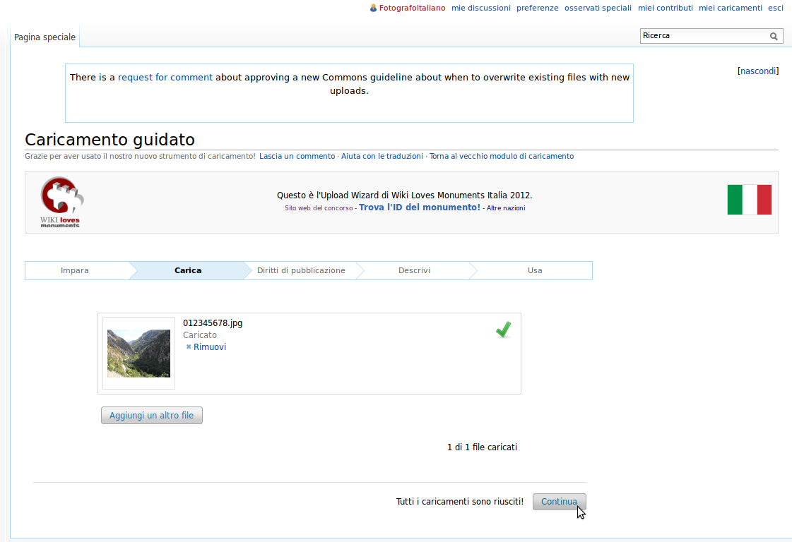 Screenshot dell'Upload Wizard su Wikimedia Commons al completamento del caricamento