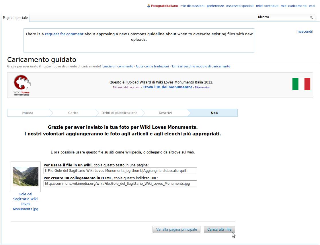 Screenshot dell'Upload WIzard di Wikimedia Commons al termine di una procedura di caricamento con esito positivo