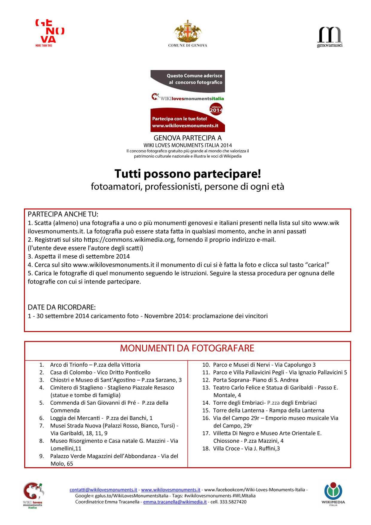 Locandina del Comune di Genova, con l'elenco dei Monumenti