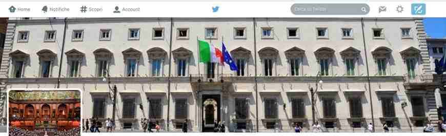 Uno screenshot dell'account Twitter @Parlamento_wiki, fonte:Twitter