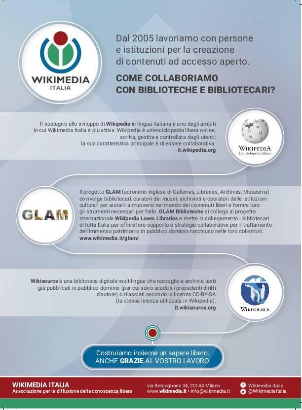 """Wikimedia Italia incontra i bibliotecari alle Stelline """"Per costruire insieme un sapere libero ..."""