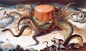 Vignetta sul monopolio Standard Oil, raffigurato come una gigante piovra sugli USA.