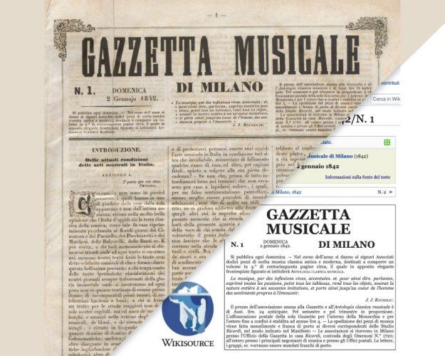 gazzetta musicale promozione evento editathon archivio ricordi e wikisource